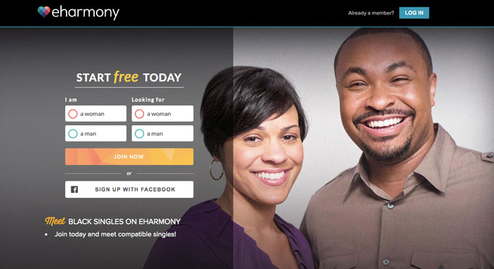 eHarmony main page black